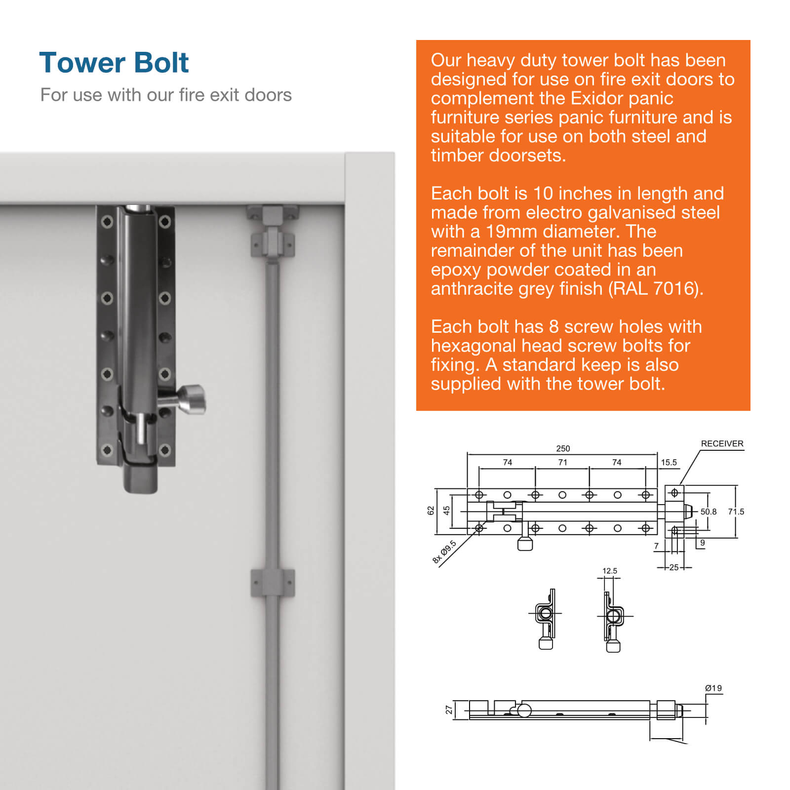 More info image for Exidor tower bolt