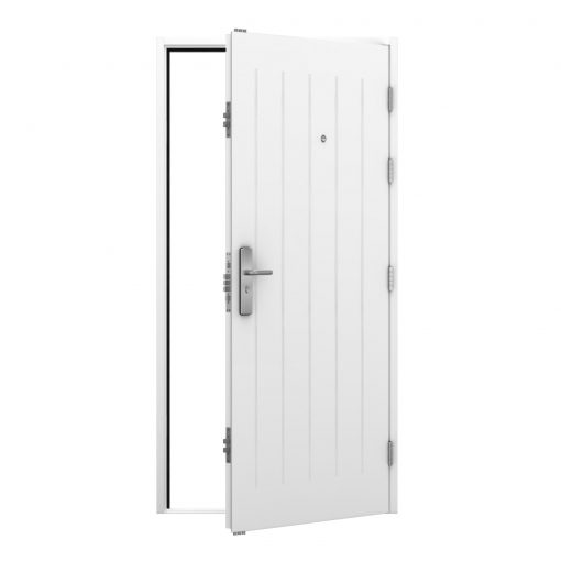 cottage style steel door with spy hole installed