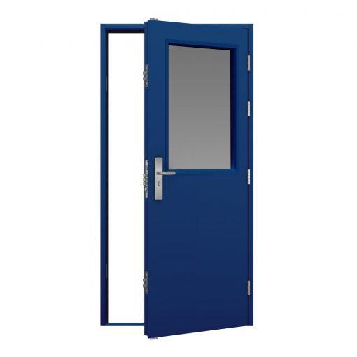 traffic blue steel security door with a glazing panel in the top centre of the door