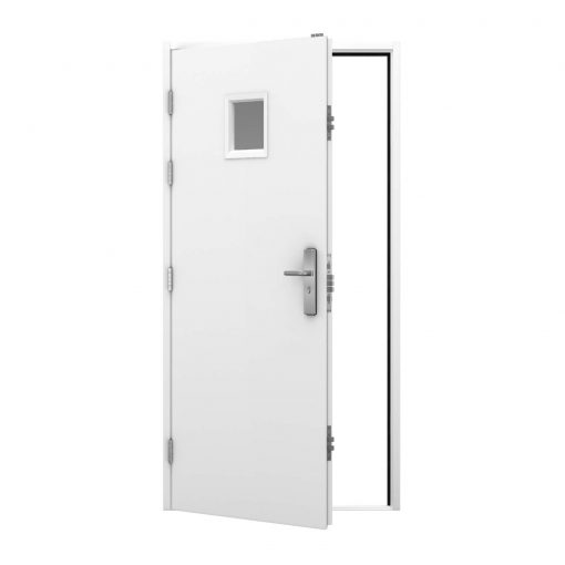 White door with small vision panel