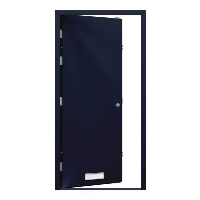 black blue door with blanking plate