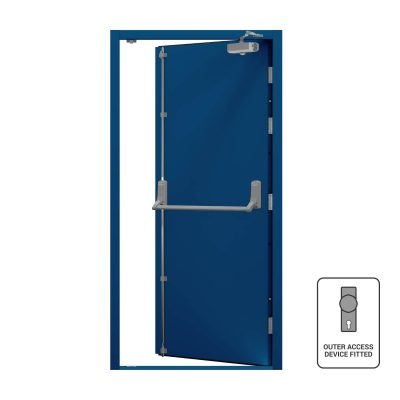 Genetian Blue door with closer fitted
