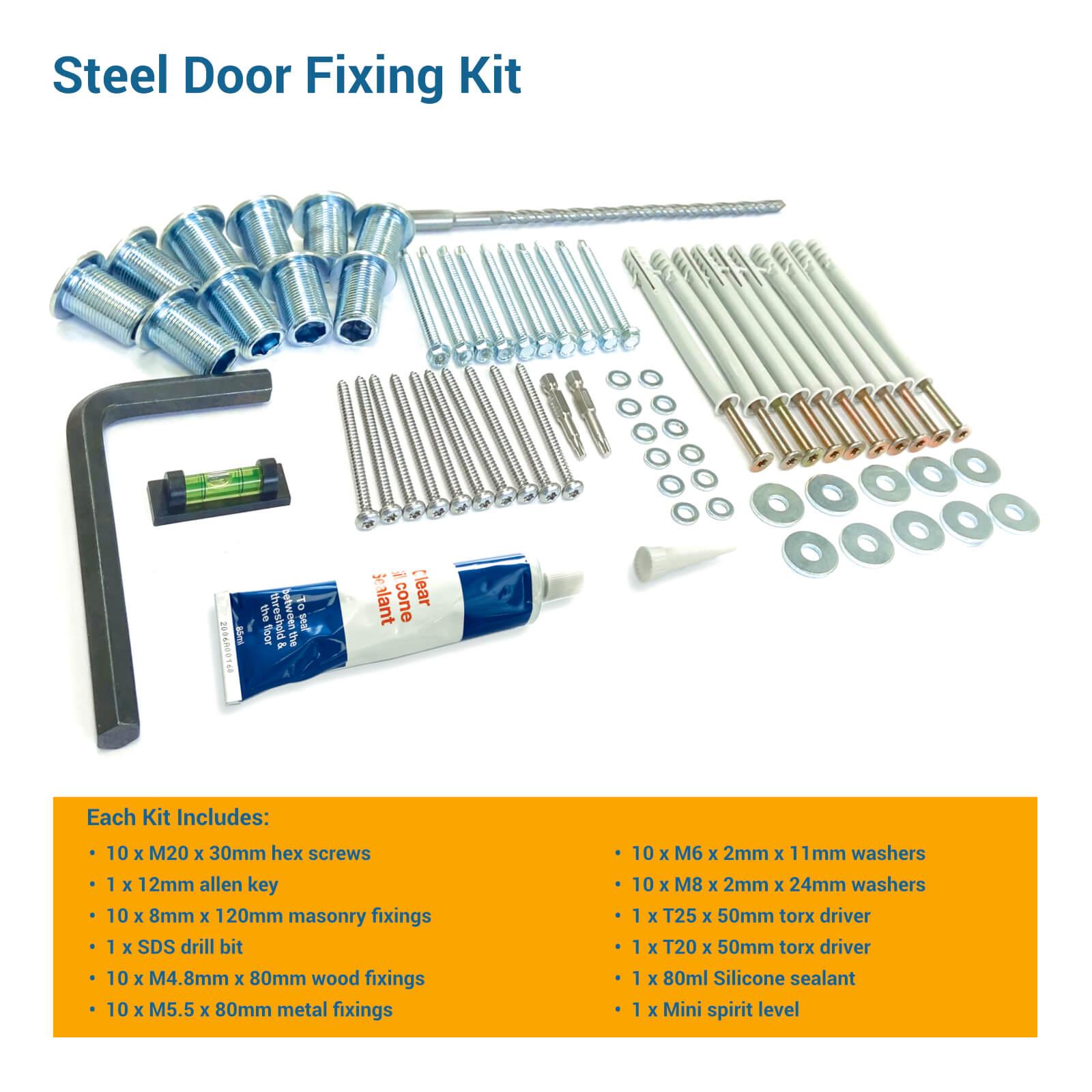 Overview of steel door fixing kit contents