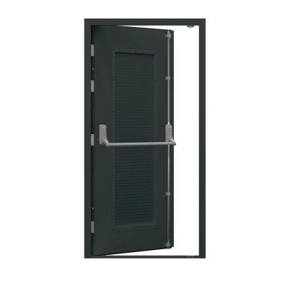 Louvred grey fire exit door