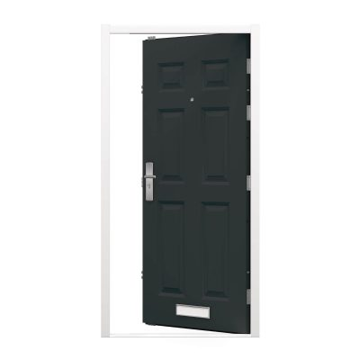 Panelled door with anthracite grey leaf and white frame
