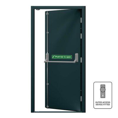 Fire exit door in anthracite grey