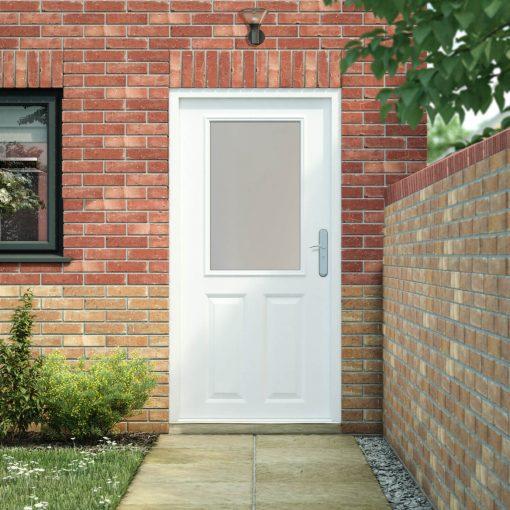 6 Panel Security Back Door with Half Glazed Panel