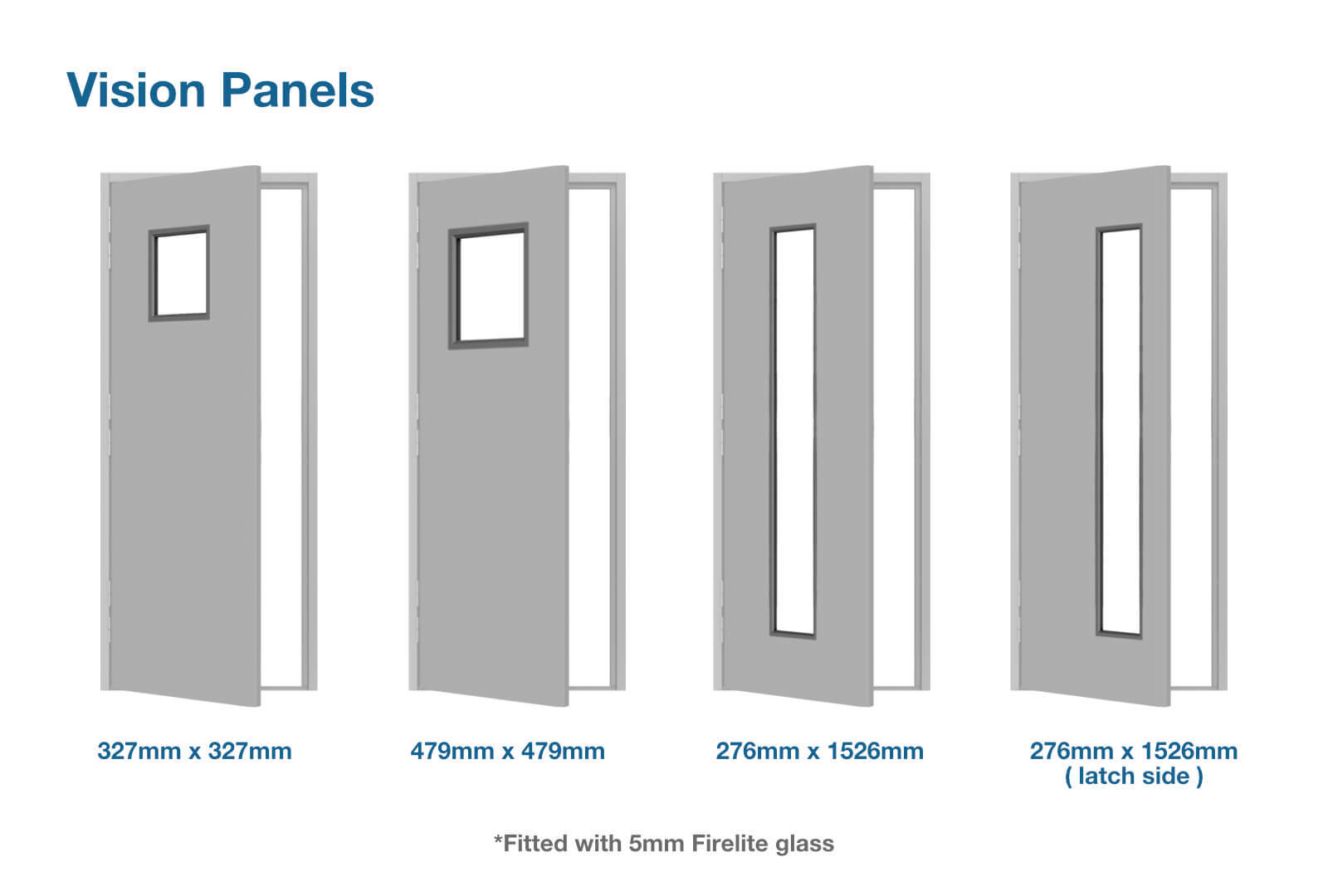 Vision panel sizes for custom made fire rated steel doors