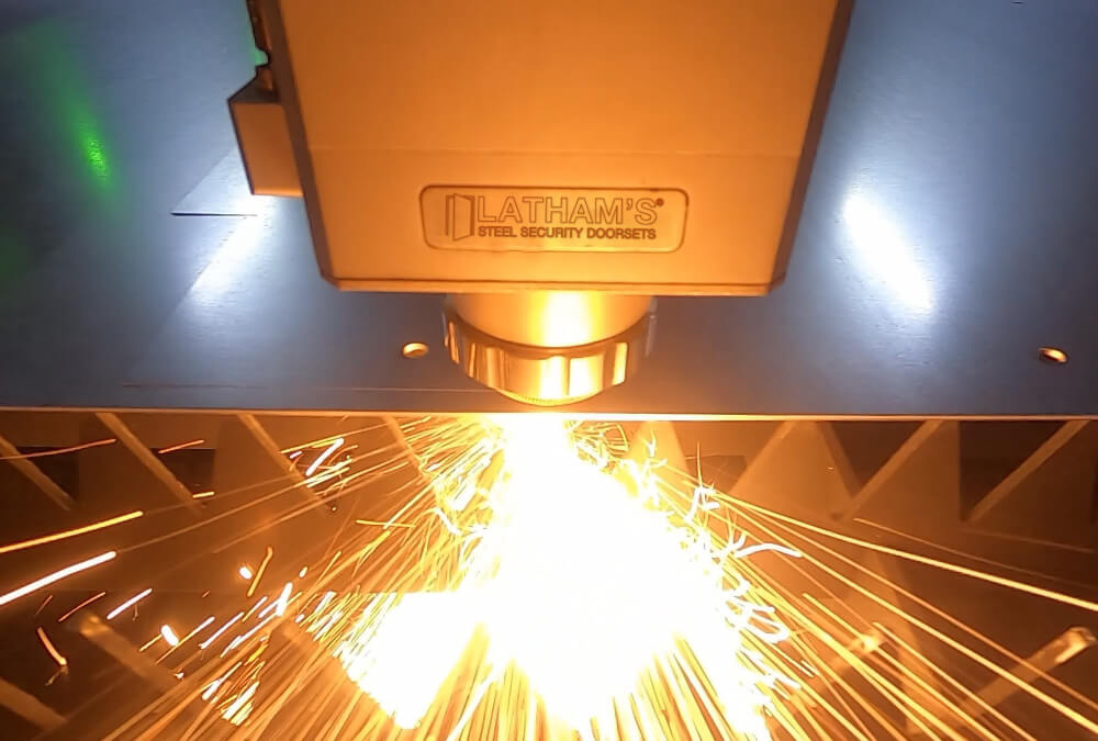 Image showing laser cutter in action